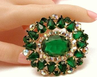 """Gorgeous Green Rhinestone Juliana Style 2-1/4"""" Vintage Brooch W/open Back Stones"""