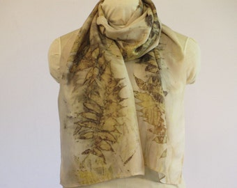 """Natural Plant Dye Scarf - Ecoprint Silk - Nature Lover Gift - Gold Rosy Buff Taupe Brown - HA14161114 -  approx. 14""""x70"""" (35 x 178cm)"""
