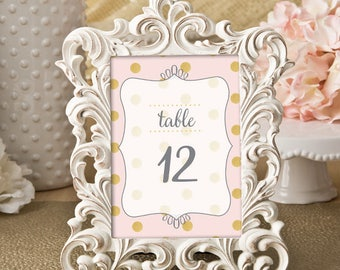 Table Numbers - Pink with Gold Polka Dots / Wedding / Bridal Shower / Baby Shower / Birthday Party