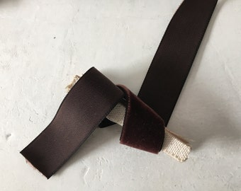 "Vintage velvet ribbon Dark Chocolate brown 7/8"" wide"