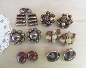 6 Pairs. Matching Vintage Earrings Lot. Copper, Brown, wood Cluster, Faux Pearl Cluster 1950s earrings, Enamel Earring Lot  E16