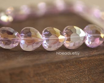 48pcs Faceted Heart Crystal Glass beads 16mm Sparkly Pink AB -(TS21-10)