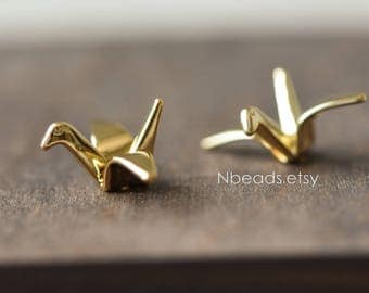 10pcs Origami Paper Crane Charms, 24K Gold plated Brass Bird Beads 24mm, with A Hole Drilled Through (GB-072)