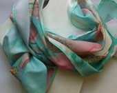 30% OFF for GIFT season Hand painted silk scarf - mint pastel pink yellow flowers - wearable art - floral silk scarf- luxury silk scarf 18x7