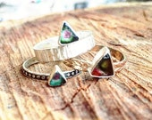 Watermelon Tourmaline Triangle Mixed Metal Ring with Gold Filled Band and Sterling Silver Bezel