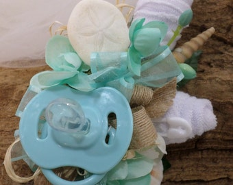 Beach Inspired Baby Shower Corsage - Seashell Corsage - Pin On Floral Corsage - Pacifier and Washcloths - Baby Shower Items
