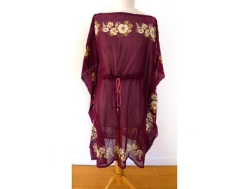 Vintage Hand-Loomed 100% Organic Maroon, Bordeaux Cotton, White Ecru Floral Print Fabric, Constructed to Kaftan, Caftan, Cover-up
