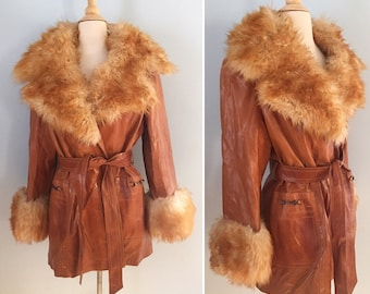 1970s leather and shearling wrap jacket / 70s cognac leather coat /