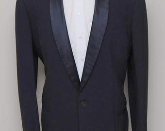 1950s men's blue wool tuxedo jacket/ 50s men's blue tux jacket/ After Six