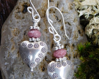 Hill Tribe Silver and Faceted Pink Rhodonite Dangle Earrings