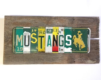 MUSTANGS Pillow Academy upcycled art license plate sign recycle bronco green yellow OoAK tomboyART tomboy