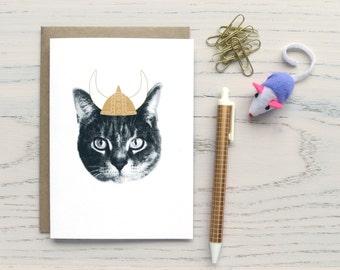 gee whiskers series: viking cat notecard