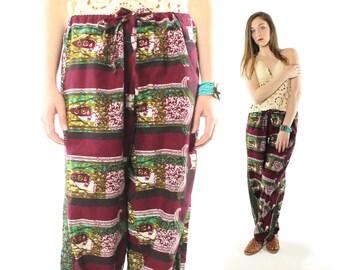 Vintage 90s Festival Pants Hippie Boho Beach Wide Leg Cotton Batik 1990s Medium M Large L Maraoon