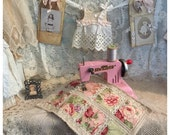 Rustic handmade blythe doll quilt with vintage lace Toy quilt Olive Grove Primitives