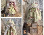 Reserved lisitng for kelly- Blythe doll dress Handmade vintage style pretty floral green fabric handmade by Olive Grove Primitives