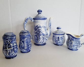 Vintage Blue And White Embossed Farmhouse Tea Coffee Set Made In Japan