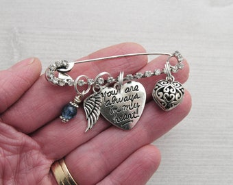 Bouquet Charm, Something Blue, Memorial Charm, Wedding Pin, Rhinestone Charm, You are always in my heart