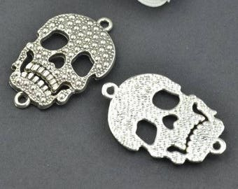 2 Skull Connector Charms: Antique Silver Finish - Halloween Charms for Bracelets
