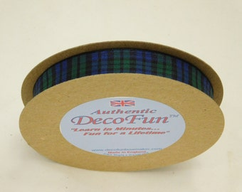Black Watch Plaid or Royal Stewart Tartan, genuine Scottish 5/8 inch Woven Edge Made in England for gifts, crafts, party favors, food gifts