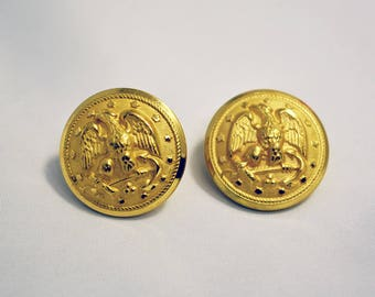 Two Gold tone Waterbury Military Buttons
