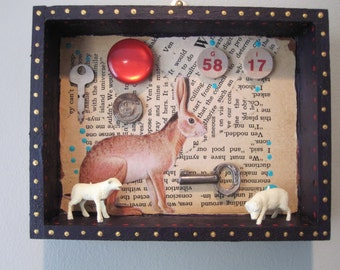 Mixed media assemblage, shadow box, found object art