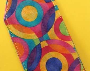 Colorful, psychedelic luggage tag, travel, wedding favor, circles