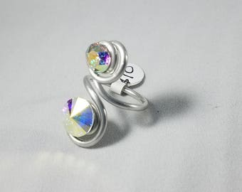 Ab and Ab swarovski crystal adjustable ring made with aluminum wire, made to order