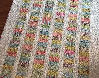 Verna Coins Crib Quilt Baby Lap Blanket -- pink, green, yellow, blue, tan, cream -- Kate Spain for Moda fabrics