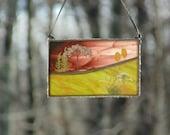Mini landscape art suncatcher, stained glass window decoration, unique ooak original small landscape scene pressed flower art gift under 40
