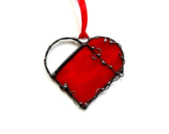 Stained glass heart suncatcher, glass ornament, copper foil Tiffany style glass, light catcher, red heart gift, birthday gift for her