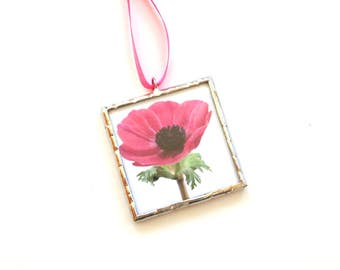 Pink Poppy, flower ornament, stained glass, cubicle decor, mini wall art, cubicle decoration, photo ornament, flower photograpy