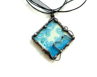 Pendant necklace, glasspainting, tiffany pendant, stained glass necklace, abstract painting jewelry, statement necklace, blue necklace