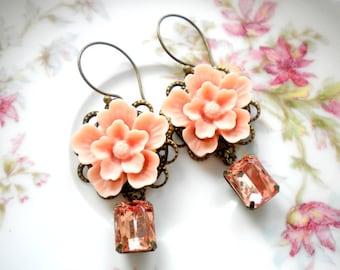 Peach Earrings Sister In Law Gift Flower Dangle Earrings Vintage Romantic Earrings Flower Bridesmaid Earrings Flower Chandelier Earrings