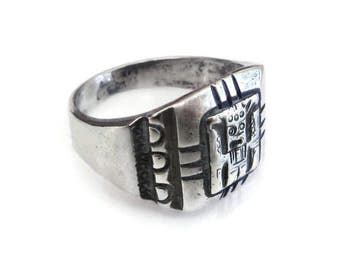 Sterling Silver Aztec Warrior Ring - Sterling Ring, Vintage Ring, Vintage Jewelry, Size 7