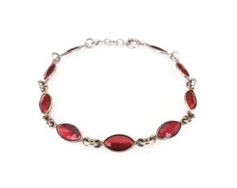 Volmer Bahner Sterling Red Enamel Bracelet - VB Sterling, Guilloche Enamel, Skinny Bracelet, Sterling Bracelet, Denmark Jewelry