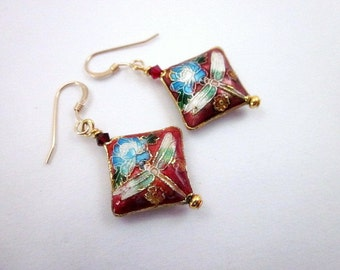 Dragonfly Earrings -- Insect Earrings -- Diamond Shape Earrings -- Cloisonne Earrings -- Red & Light Blue Earrings --Red White Blue Earrings