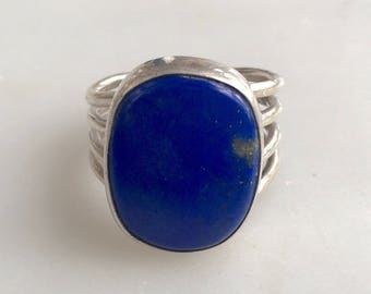 Vintage Chunky Sterling Silver and Lapis Ring