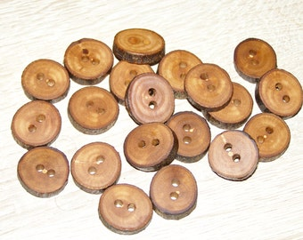 """Small 20 Handmade apple wood Tree Branch Buttons with Bark, accessories (0,63'' diameter x 0,16"""" thick)"""