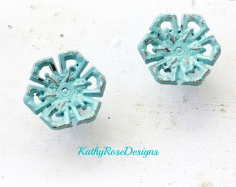 Knobs, shabby chic vintage french provincial flower design, distressed teal pink white black seafoam green
