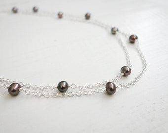 Grey pearl necklace double chain necklace freshwater pearls necklace minimalist women