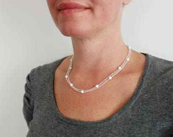Double chain necklace pearly white bead necklace minimalist chain necklace layering necklace for women