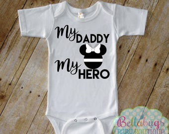Minnie My Daddy My Hero Bodysuit or Tshirt - Thin White Line - EMS - Paramedic - Girl