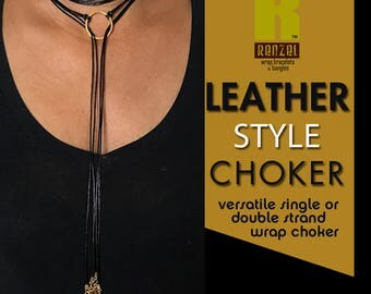 Black Leather Choker Necklace, Spike Choker, Boho Wrap Bracelet, Lariat, Tie Necklace, Gift for Her