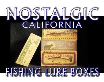 Lake house decor Tahoe cabin fishing lure boxes