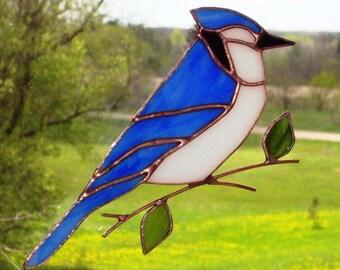 Blue Jay - Large Stained Glass Bird Suncatcher 51117