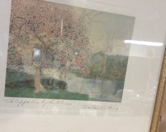 Wallace Nutting The Apple Tree by the Stream Hand Painted Photograph in Original Frame