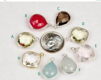 ON SALE Rose Quartz Pendant, Lemon Quartz, Rock Crystal, Aqua Chalcedony, Pink Chalcedony, Earring Link, Sterling Silver, Vermeil, Bezel - O