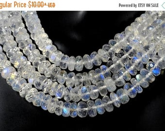 ON SALE AAA Rainbow Moonstone Beads Faceted Rondelles Rondels Roundels Roundells Earth Mined Gemstone - Av. 6.5mm - Your Choice of Length