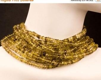 ON SALE Bi-Color Quartz Beads Rondelles, Lemon Quartz, Smoky Quartz, Rondels, Roundels - Earth Mined Gemstone - 6.5-Inches - 3 to 3.5mm
