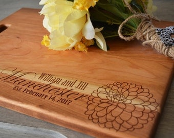 Personalized Engraved Flower Cutting Board Choose From Walnut Maple Cherry or Bamboo